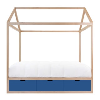 Domo Zen Full Canopy Bed in Maple With Yellow Finish Drawers For Sale