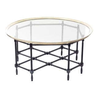 Baker Brass & Glass Faux Bamboo Coffee Table