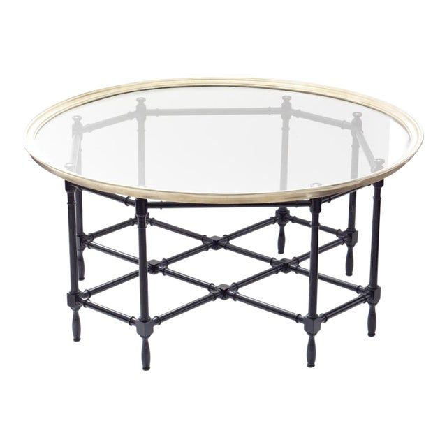 Baker Brass & Glass Faux Bamboo Coffee Table For Sale
