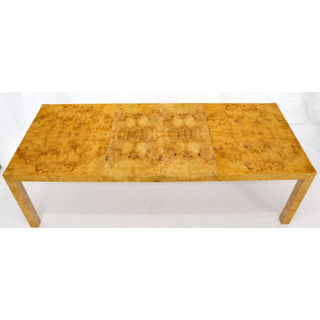 Rectangle Shape Burl Wood Dining Room Table with Two Extension Leaves Boards For Sale - Image 11 of 12