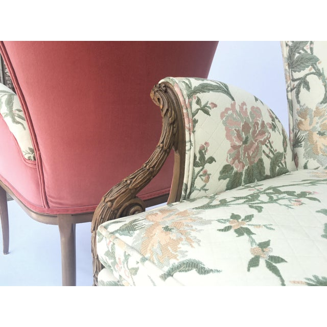 Textile Carved French Hollywood Regency Style Butterfly Wing Chairs For Sale - Image 7 of 10