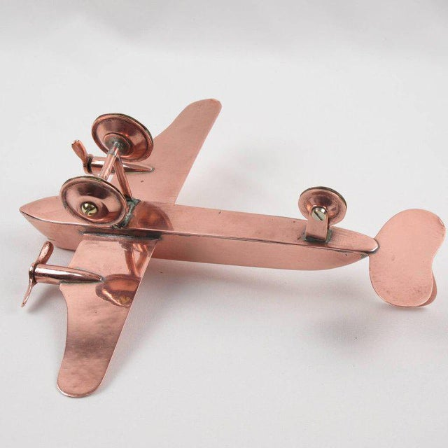 Mid-Century Modern Copper Airplane Model - Image 8 of 11