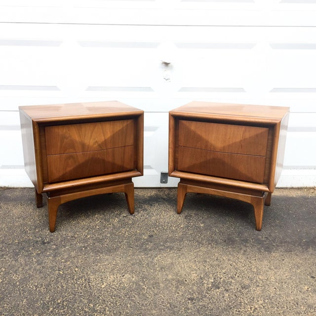 Mid-Century Diamond Front Nightstands - A Pair - Image 2 of 11