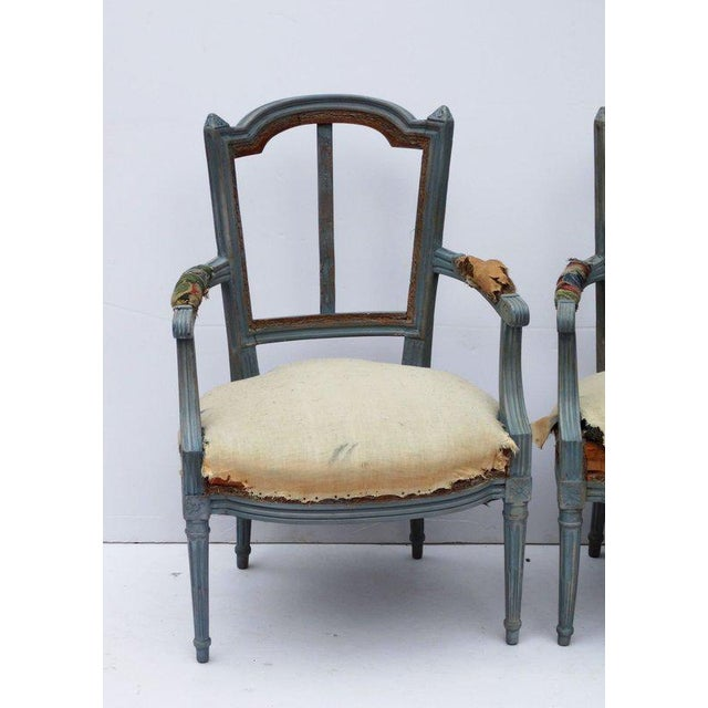 """Pair of French Louis XVI style Fauteuil Armchairs 20th Century 34"""" high, 23.5"""" wide."""