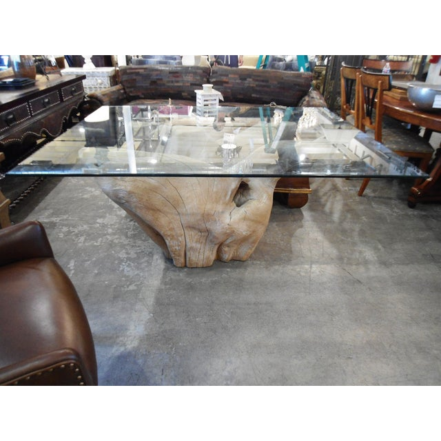 Michael Taylor Inspired Driftwood & Glass Pedestal Table - Image 2 of 7