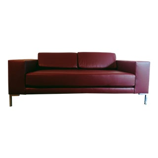 Modern GR Bordeaux Leather Sofa For Sale