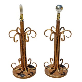 Hollywood Regency Gold Tone Wrought Iron Buffet Table Lamps - a Pair For Sale