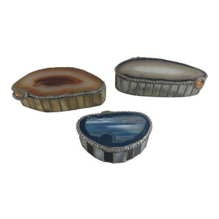 Glass and Agate Boxes - Set of 3 For Sale