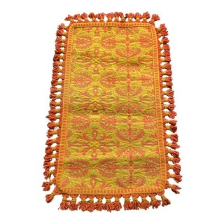 Vintage Orange and Mustard Accent Rug For Sale