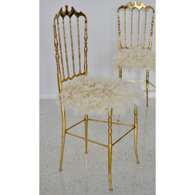 Mid-Century Brass Side Chairs - a Pair For Sale - Image 4 of 13