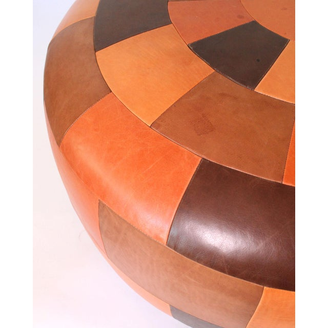 Peter Dunham Oversized Vintage Patchwork Leather Ottoman For Sale - Image 4 of 6