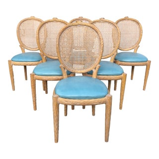 1970s Vintage Faux-Bois and Cane Dining Chairs- Set of 6 For Sale