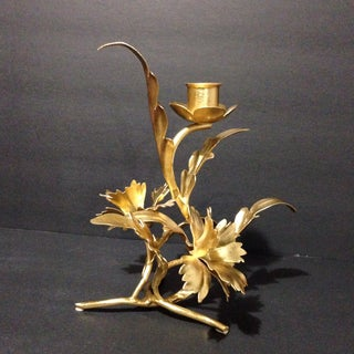 Gold Leaf Rococo Candleholder & Decorative Lucite Candle Preview