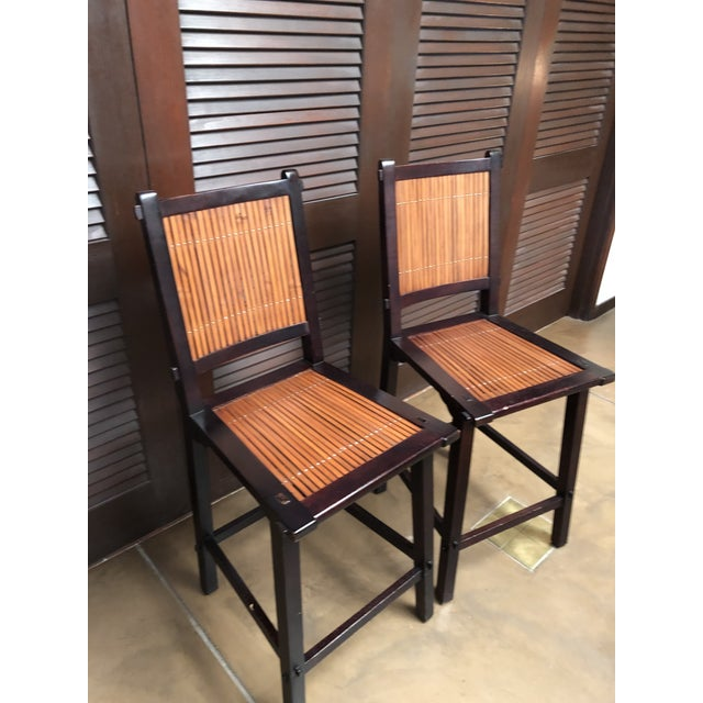 Late 20th Century Asian Inspired Wood and Bamboo Bar Stools - A Pair For Sale - Image 5 of 12