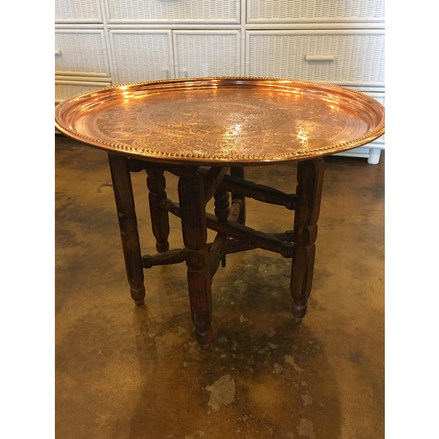 Moroccan Copper And Wood Accent Table Chairish - Copper top accent table