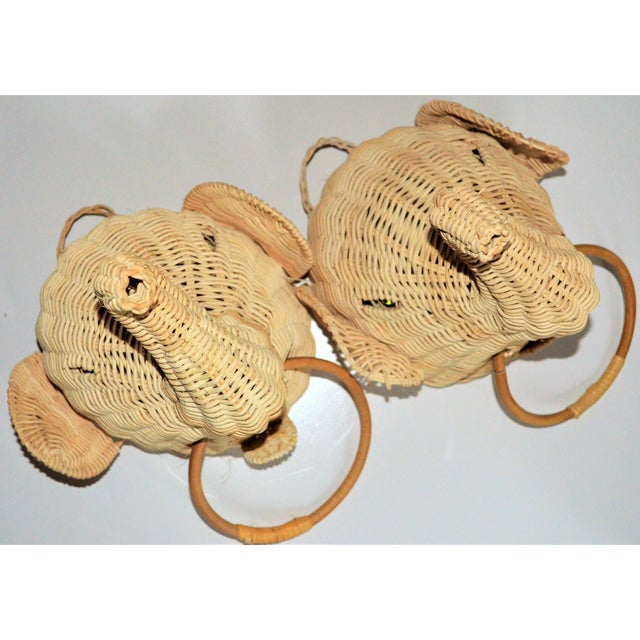 Elephant Wall Mount Wicker Towel Rings - a Pair For Sale - Image 4 of 12