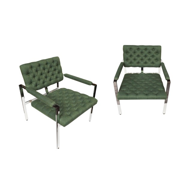 1960s Flat-Bar Chrome Club Chairs by Milo Baughman for Thayer Coggin - a Pair For Sale - Image 14 of 14