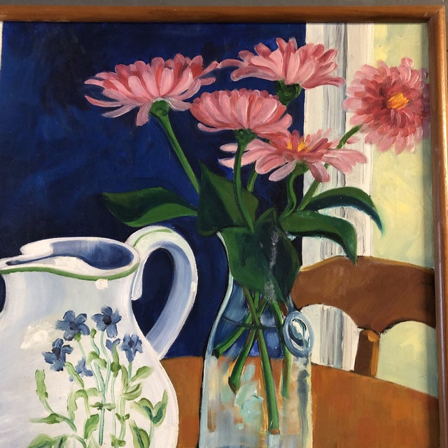 1970s Original Vintage Still Life Painting Mid Century Signed For Sale - Image 5 of 7