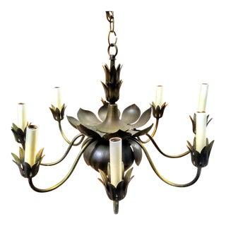 Mid -Century Modern, Hollywood Regency Vintage Feldman Brass Lotus Flower 8 Arm Chandelier Light For Sale