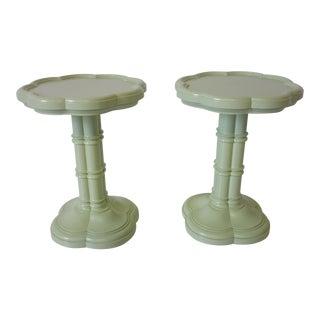 Lotus Regency Pedestal Side Tables For Sale