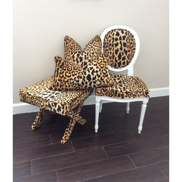 Leopard Fabric Louis XVI Round Back Side Chair For Sale In Miami - Image 6 of 7