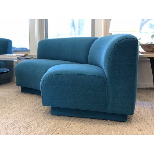 Vintage Turquoise Semi Circle Sofa - Image 5 of 9