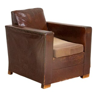 Vintage Leather Arm Chair From Denmark For Sale