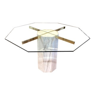 Italian Travertine Brass & Glass Octagonal Dining Table For Sale