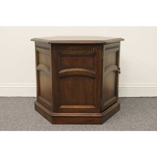 Kling Furniture Co. 20th Century British Colonial Kling Solid Cherry Hexagonal Storage End Table For Sale - Image 4 of 13