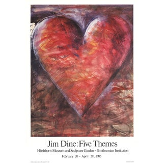 "Jim Dine the Minnesota Watercolor 34"" X 23.25"" Poster 1985 Pop Art Multicolor, Red For Sale"