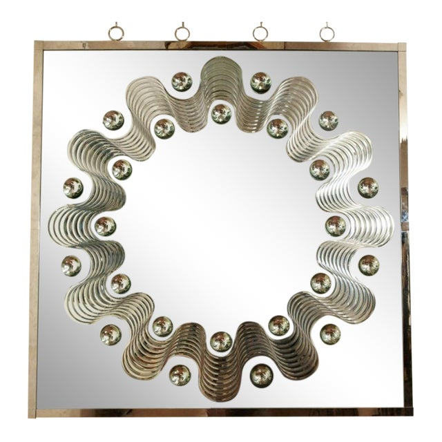 Bronze André HayatSpectacular Large Bubble Mirror With Engraved Wave Design For Sale - Image 7 of 7