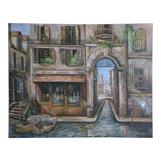 Italian Venice Street Scene Oil Painting For Sale