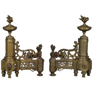Antique French Louis XIV Brass Fireplace Urn, Scroll and Foliate Chenets - a Pair For Sale