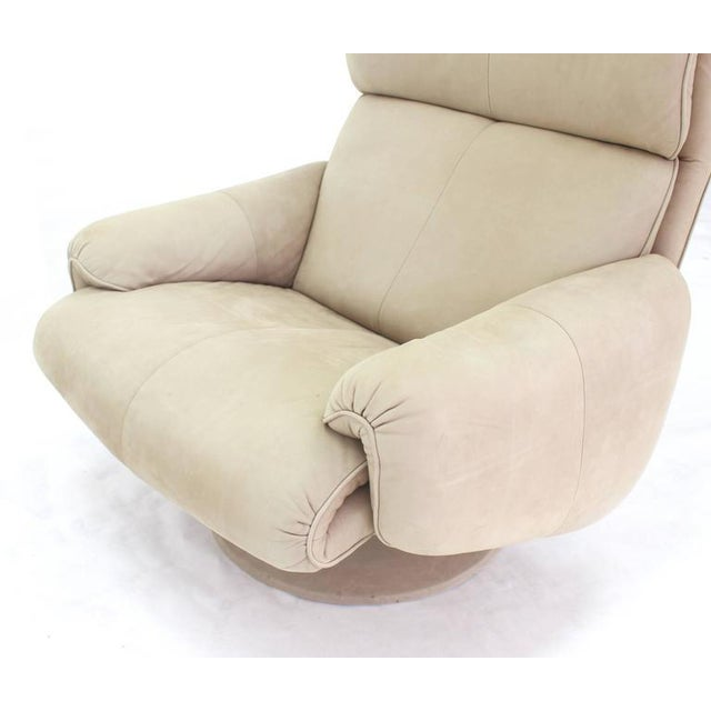 Beige Suede Leather Lounge Chair with Matching Ottoman For Sale In New York - Image 6 of 10