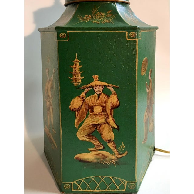 Asian English Chinoiserie Hexagon Tea Canister Lamp For Sale - Image 3 of 8