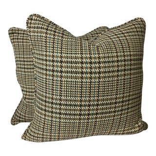 """Traditional Matching 22""""x22"""" Woven Plaid Cotton Pillows - a Pair For Sale"""