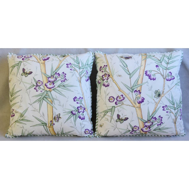 "Pair of custom-tailored pillows in designer Clarence House ""Bambous Fleuris"" cotton fabric. Green and white stripe cotton..."