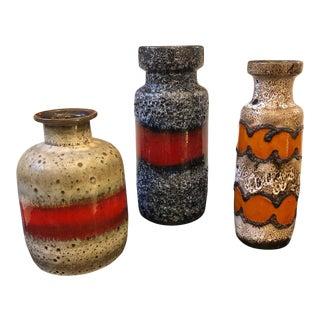 1960s German Mid-Century Modern Lava Keramik Vases - Set of Three For Sale