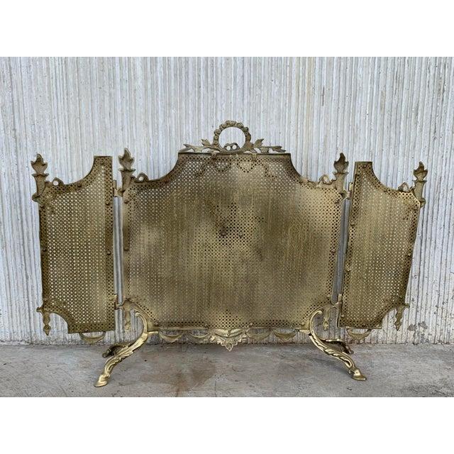 19th Century French Louis XVI Style, Three-Panel Bronze Fire Screen