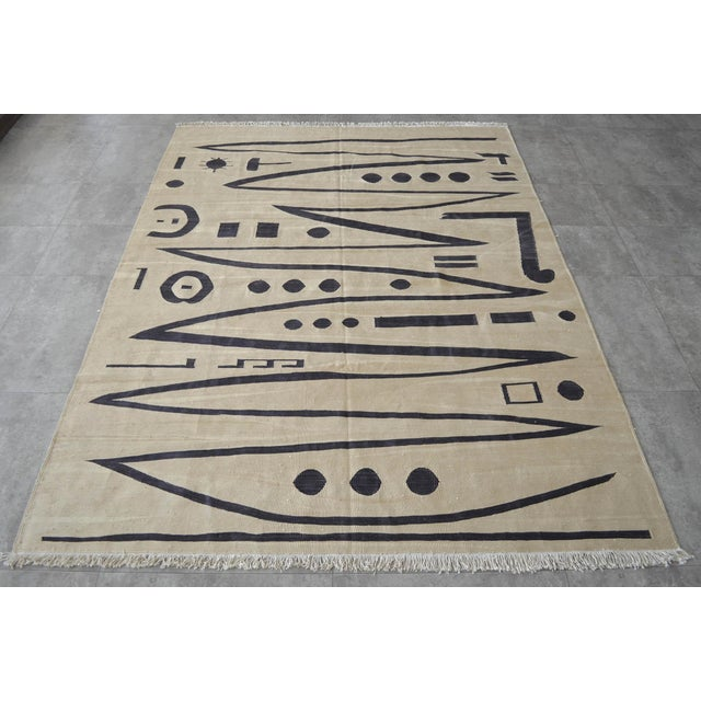 2010s Paul Klee - Heroic Strokes of the Bow - Inspired Silk Hand Woven Area - Wall Rug 4′10″ × 6′7″ For Sale - Image 5 of 12