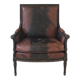 1990s Vintage Councill Craftsmen Regency Style Leather Arm Chair For Sale