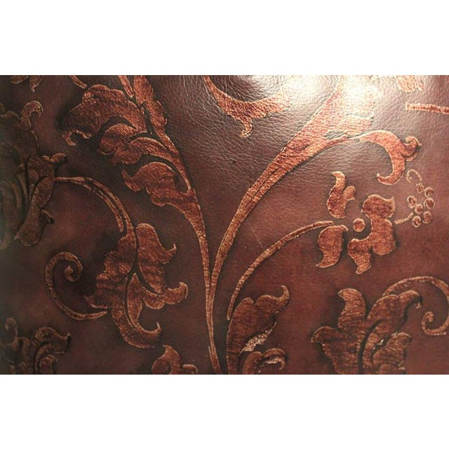 Hand Tooled Brown Leather Pillow - Image 5 of 5
