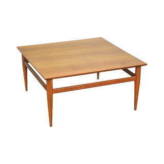 Heritage Mid Century Modern Danish Style Square Walnut Coffee Table