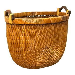 Mid-20th Century Woven Reed Basket With Wood Handles For Sale