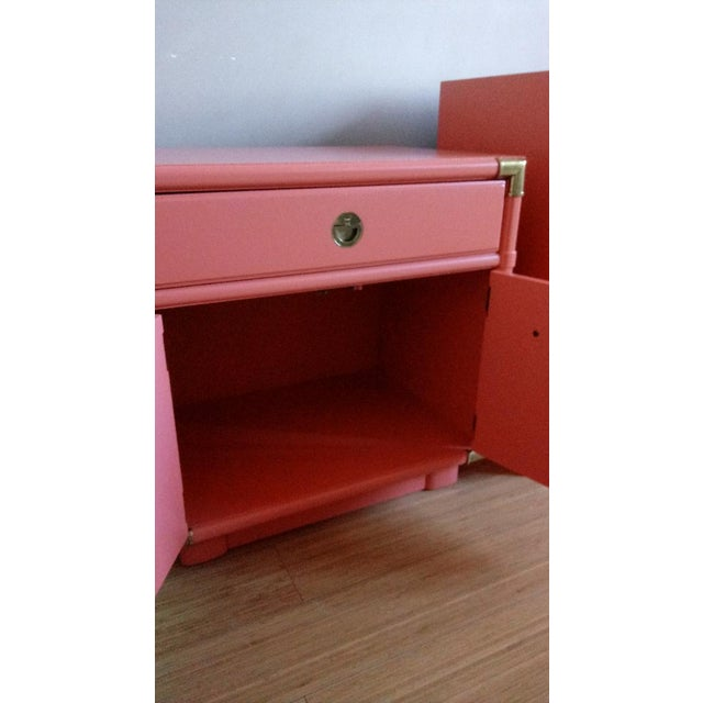 Asian Drexel Accolade Campaign Coral Nightstands - a Pair For Sale - Image 3 of 10