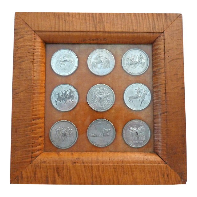 Early 19th Century Elgin Marbles Medals by Edward Thomason - 9 Medals in Frame For Sale