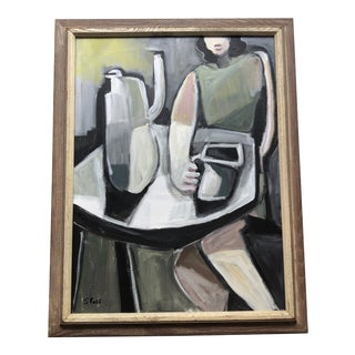 Original Contemporary Stewart Ross Modernist Woman in Interior Painting For Sale