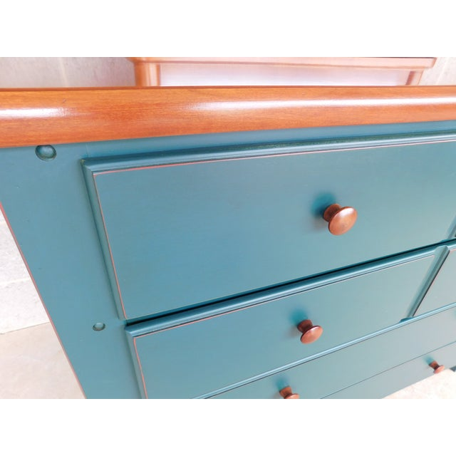 Teal Thomasville Solitaire Collections Chest With Mirror For Sale - Image 8 of 12