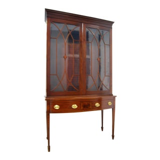 Antique China Cabinet Hepplewhite Style For Sale