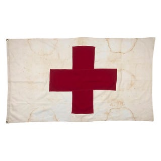 Vintage Red Cross Stitched Cotton Flag For Sale
